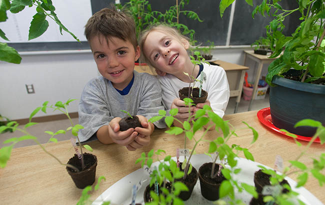 Students with seedlings